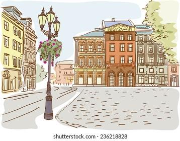 Antique European street. Summer city landscape. Vector illustration.
