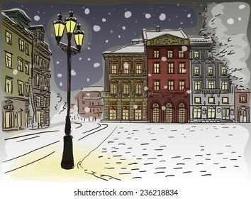 Antique European street. Winter Night city landscape. Vector illustration.