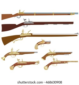 Antique firearms, muskets and pistols. The illustration on a white background.