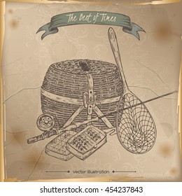 Antique fishing gear hand drawn sketch placed on old paper background. Vintage collection. Great for travel ads and brochures, fishing and vacation illustrations, retro design.