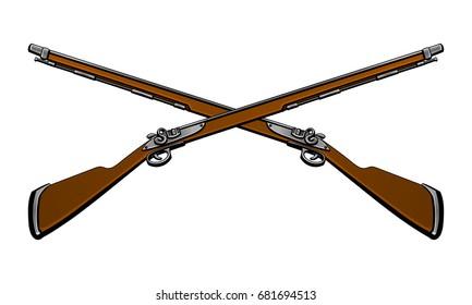 Antique flintlock guns.