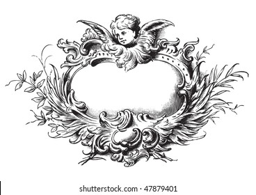 antique floral frame engraving, scalable and editable vector illustration