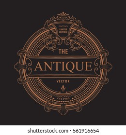 Antique frame logo vintage border western label engraving retro vector illustration