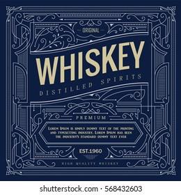 antique frame vintage border whiskey label hand drawn retro vector illustration