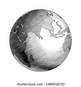 Antique globe hand drawing vintage style black and white clip art isolated on white background