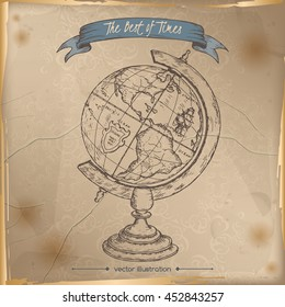 Antique globe hand drawn sketch placed on old paper background. Vintage collection. Great for school, education, book shop, retro design.