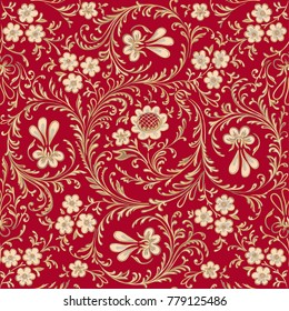 Antique gold floral pattern on a red background.