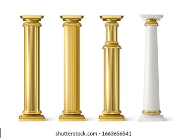 Antique gold pillars set. Ancient columns with golden decorative texture isolated on white background. Roman or greece facade decoration, luxury architecture elements, Realistic 3d vector illustration