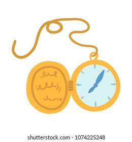 Antique gold pocket watch. Cartoon clip art illustration on white background.