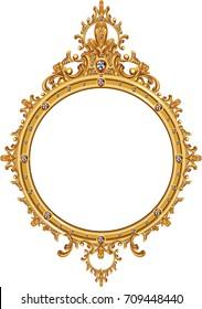 antique golden frame isolated on white background.illustration