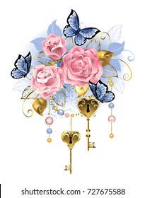 Antique golden keys with pink roses, golden leaves and blue butterflies on white background.