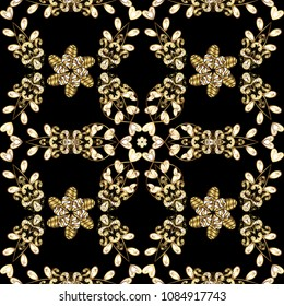Antique golden repeatable wallpaper. Damask seamless pattern repeating background. Golden floral ornament in baroque style. Golden element on black colors.