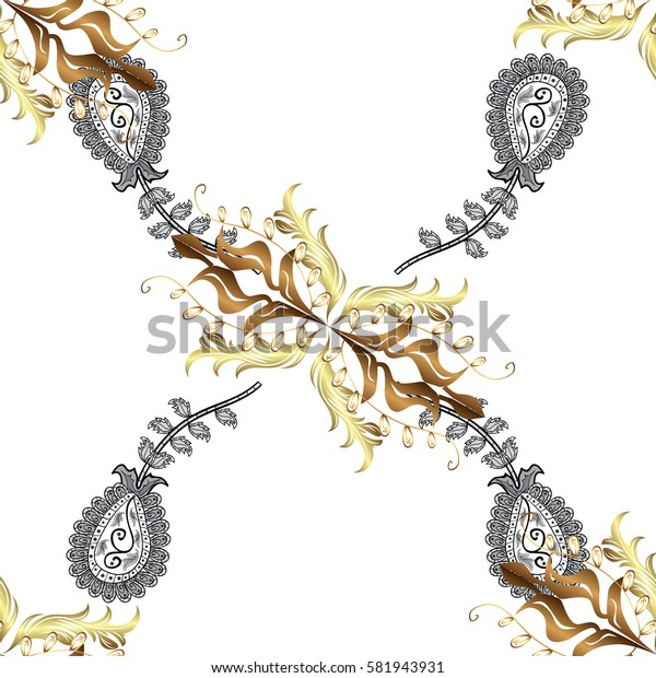 Antique golden repeatable wallpaper.Golden element on white background. Damask pattern repeating background. Golden white floral ornament in baroque style.