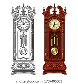 Antique grandfather pendulum clock. Traditional floor standing long case clock with wood carved decoration. Hand drawn black and white and colored detailed vector illustration.