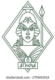 Antique Greek goddess Athena logo. The nature of ancient Roman mythology.  Lines art. Vector illustration