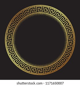 Antique greek style gold meander ornanent hand drawn line art and dot work round frame design vector illustration