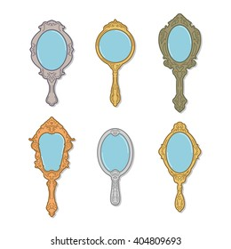 Antique Hand Mirror Vector Illustration Pack
