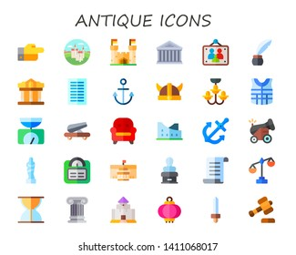antique icon set. 30 flat antique icons.  Collection Of - decree, castle, ancient, picture frames, inkwell, museum, columns, anchor, viking helmet, chandelier, armor, balance