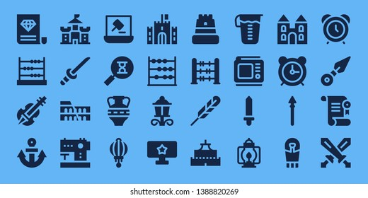 antique icon set. 32 filled antique icons. on blue background style Collection Of - Certificate, Abacus, Violin, Anchor, Castle, Katana, Colosseum, Sewing machine, Auction, Sandclock