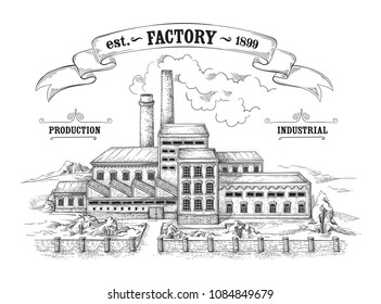 antique industrial distillery factory made of bricks Vector illustration
