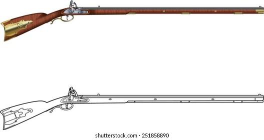 antique kentucky flintlock rifle