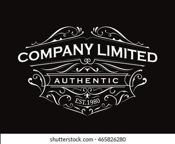 Antique label typography vintage frame logo design vector