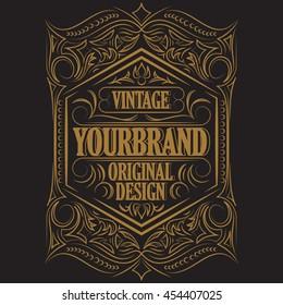 Antique label, vintage frame design, typography, retro logo template, vector illustration