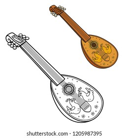 Antique lute decorated with inlaid birdss color and outlined picture for coloring book on white background