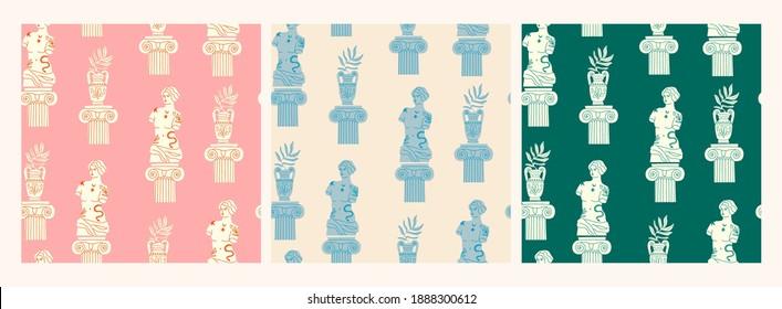 Antike Marmorstatue der Frau, Säule, Ast, Amphora. Mythischer, alter griechischer Stil. Handgezeichnete angesagte Vektorgrafik. Set von drei quadratischen Nahtlosen Mustern. Jedes Muster ist isoliert