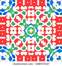 Antique mexican talavera ceramic. Bathroom design. Vector seamless pattern texture. Red floral and abstract decor for scrapbooking, smartphone cases, T-shirts, bags or linens.