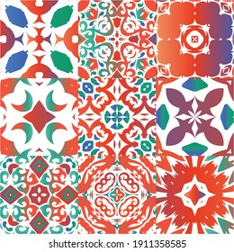 Antique mexican talavera ceramic. Collection of vector seamless patterns. Geometric design. Red floral and abstract decor for scrapbooking, smartphone cases, T-shirts, bags or linens.