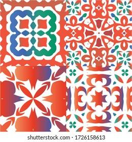 Fashion Printed T-Shirts Floral Arrangement Symmetric Pattern Soft Color Ceramic