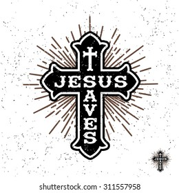 "antique monochrome religious  vintage label , badge, crest ""Jesus Saves"" for flayer poster logo or t-shirt apparel clothing print with christian cross, lettering and starburst"