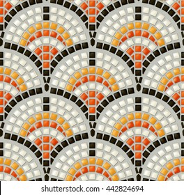 Antique mosaic seamless vector pattern