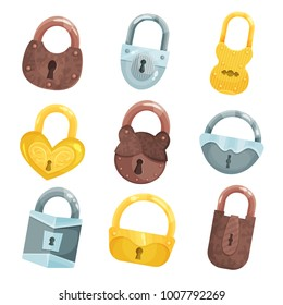 Antique old padlocks set, bronze, golden and silver padlock vector Illustrations