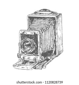 Antique Old photo Camera. Hand drawn engraving style pen crosshatch hatching paper painting retro vintage vector lineart illustration