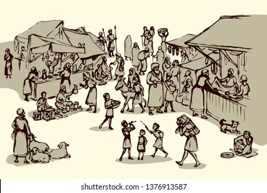 Antique orient religious heritage outdoor vendors man crowd scenic Syria view. Retro fez goods place on white background. Black hand drawn saudi rabat bazar quarter sketch in art cartoon history style