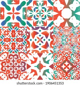 Antique ornate tiles talavera mexico. Universal design. Set of vector seamless patterns. Red ethnic backgrounds for T-shirts, scrapbooking, linens, smartphone cases or bags.