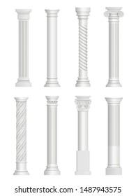 Antique pillars. Baroque column for facade roman architectural style vector realistic collection