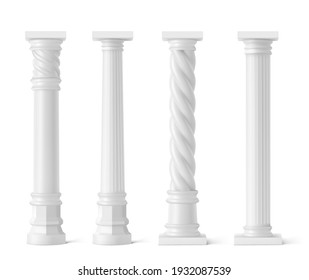 Antique pillars isolated on white background. Ancient classic stone columns of roman or greece architecture with twisted and groove ornament for interior facade design, Realistic 3d vector mockup, set