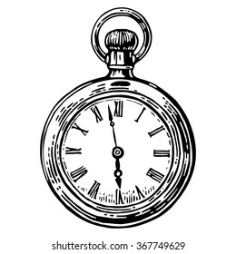 Antique pocket watch. Engraving vintage vector black illustration. Isolated on white background. Hand drawn design element for label and poster