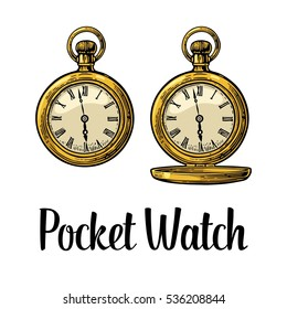 Antique pocket watch with metal lid. Vintage vector color engraving illustration for info graphic, poster, web. Isolated on white background.