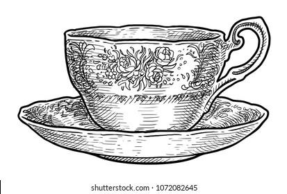 Antique porcelain cup of tea illustration, drawing, engraving, ink, line art, vector