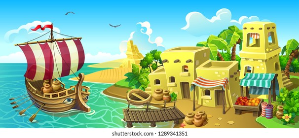 Antique port town with market and harbor. A trading sailing ship moor to the port. Sandy coast with stone houses and palm trees. Vector.