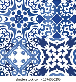 Antique portuguese azulejo ceramic. Collection of vector seamless patterns. Minimal design. Blue floral and abstract decor for scrapbooking, smartphone cases, T-shirts, bags or linens.