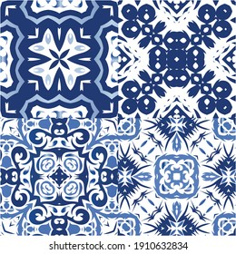 Antique portuguese azulejo ceramic. Fashionable design. Kit of vector seamless patterns. Blue floral and abstract decor for scrapbooking, smartphone cases, T-shirts, bags or linens.