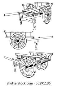 Antique Pushcart Vector 01