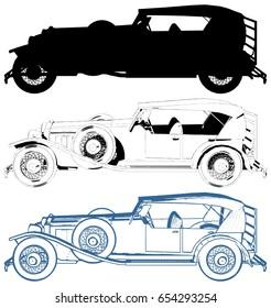 Antique Retro Car Vector 05