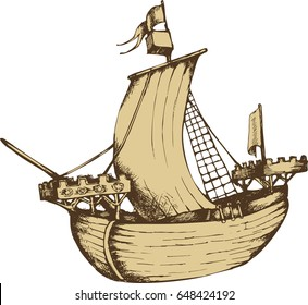 Antique sailboat. Engraved style. Vector illustration
