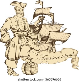 Antique sailboat and pirat. Engraved style. Vector illustration